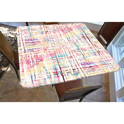 Watercolor Polyester Fitted Tablecloth,Cool Abstract Scattered Colors in Expressionist Manners Modern Painting Art Decorative Square Elastic Edge Fitted Table Cover,Fits Square Tables 36x36 Multicolo