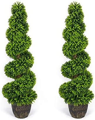 AMERIQUE Pair Gorgeous 5 Feet Wide and Dense Boxwood Spiral Topiary Artificial Trees Plant with product image