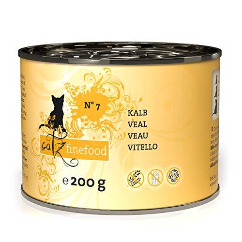 catz finefood N° 7 Kalb Feinkost Katzenfutter nass, verfeinert mit Aprikose & Ananas, 6 x 200g Dosen