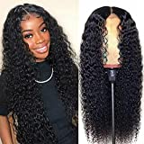 Lace Front Wigs Human Hair Curly Wave 18Inch 13x4 Kinky Curly Lace Front Wig Human Hair Pre Plucked with Baby Hair Brazilian Wet and Wavy HD Lace Frontal Wig for Women 150% Density Natural Black Color