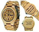 Unisex Wood Wrist Watches - Wooden Custom Watch with Date - Women's Wood Watch - Wooden Wristwatch for Men- Wood Art - Wood Craft - Personalized Laser Engraving Wood Watch - Alpha II Maple Wood Watch