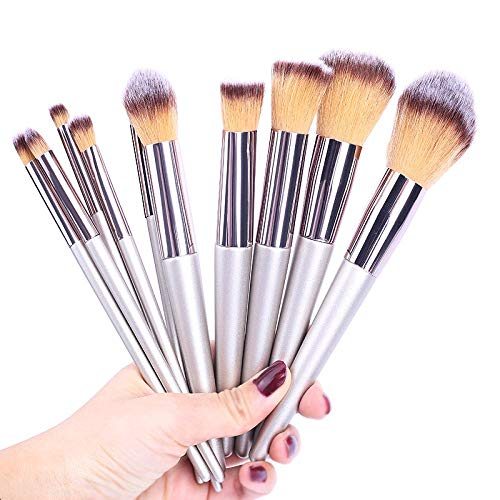 Fanxp® 10Pcs Pinceaux de maquillage Kit d'outils Poudre douce Maquillage professionnel Sourcils Eyeliner Set de pinceau Wood Blush Powder Foundation-Silver