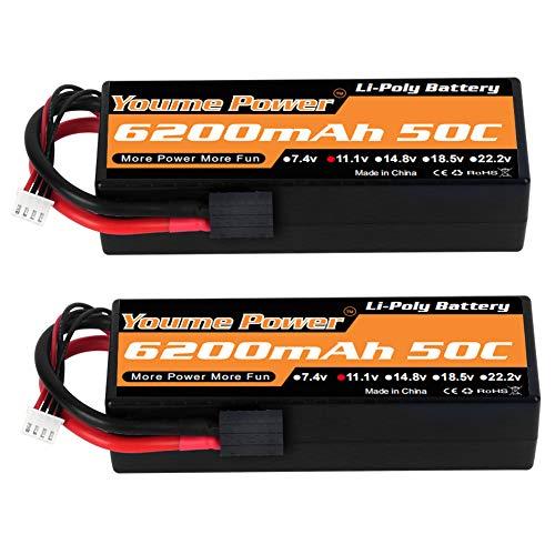 11.1V Lipo Battery, 3S Lipo Battery 6200mah 50C Hard Case Tracxas Plug for Tracxas RC Car/ Truck/Buggy, RC Boat, Airplane, UAV, Drone(2 Packs)