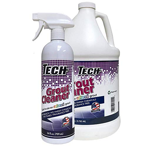 TECH Grout Cleaner Bonus Pack - Ready To Use Grout Cleaner Spray for Tiles, Floors and Walls with No Harsh Chemical (24 Oz Spray & 1 Gal Refill Bottle)