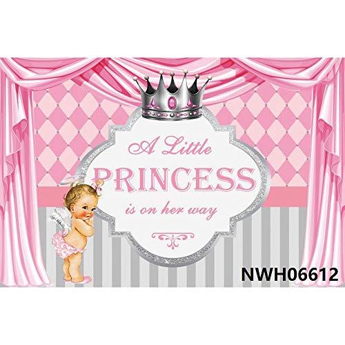 Pink Blue Golden Curtain Newborn Baby Shower Boy Girl Princess Birthday Backdrop Vinyl Photography Background A14 7x5ft/2.1x1.5m