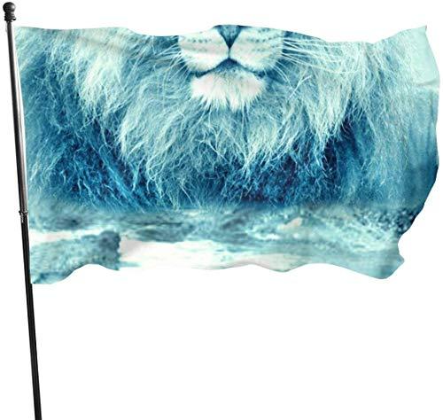 Lustige Löwen Tier.jpg Dekorative Garten-Flagge, Outdoor Künstliche Flagge für Zuhause, Garten, Hof, Dekoration, 91 x 152 cm