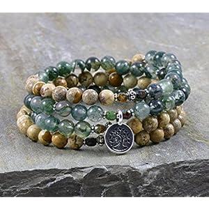 Moss Agate Picture Jasper 108 Gemstone Mala Tree of Life Prayer Necklace & Bracelet