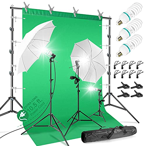 LimoStudio 10 x 9.6 ft. Heavy Duty Backdrop Stand / 10 x 20 ft. Green Background Screen / 700W Continuous Output Umbrella Lighting Kit, AGG408