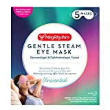 MegRhythm Gentle Steam Eye Mask, Unscented, 5 Count, Soothing Steam Eye Mask, Rejuvenates Eyes, Reduces Tension, Dermatologist and Ophthalmologist Tested