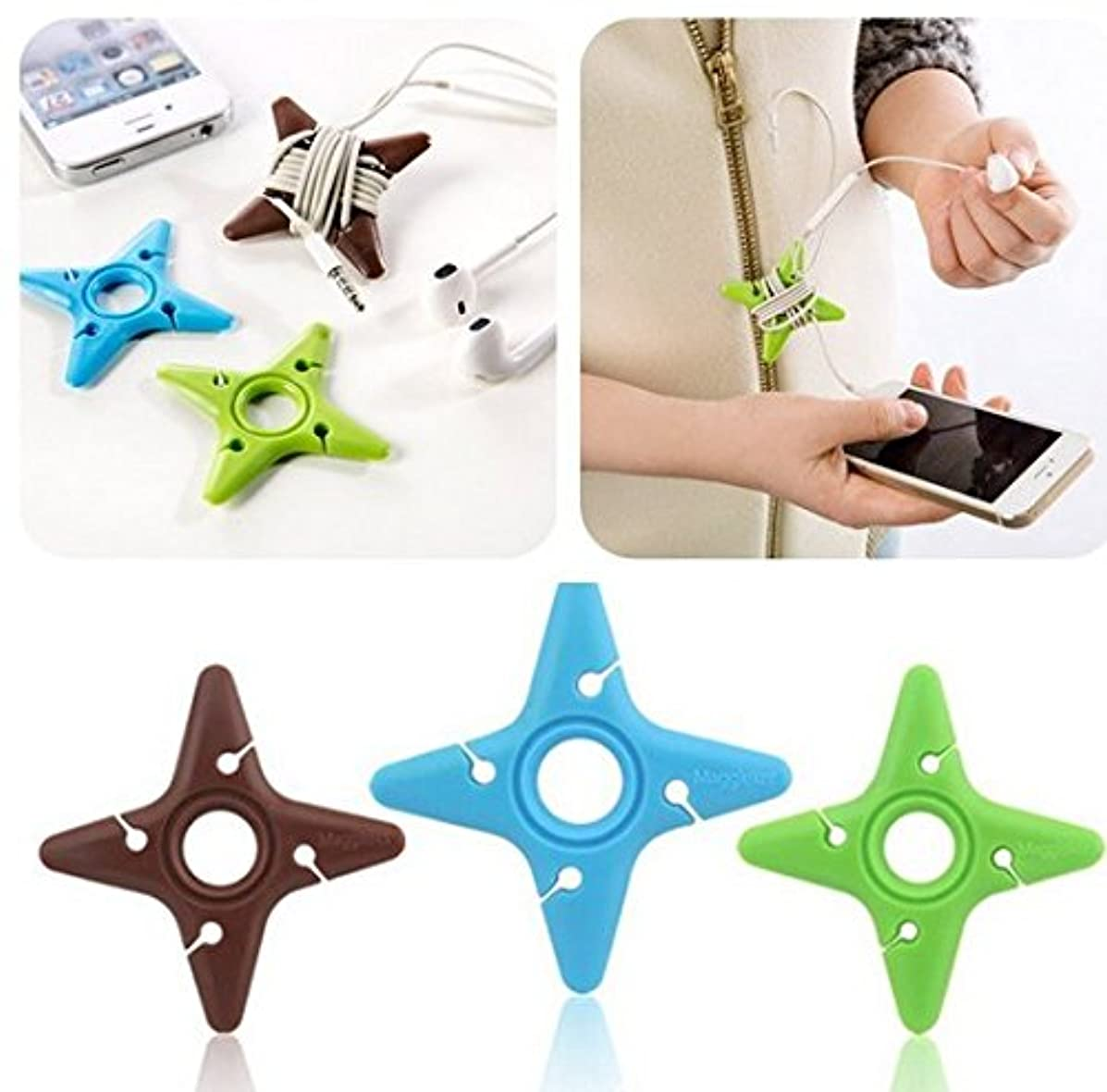 Cute Cable Tie Darts Star Cord Organizer Earphone Wrap Winder Earphone Fixer Holder Cord Manager Cable Winder Mix Color random color(3Pcs)