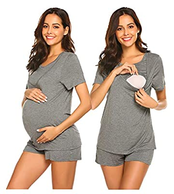 Ekouaer Nursing Pajamas & Sleepwear Scoop Neck Shorts Maternity Shirt and Short Sleepwear Dark Grey M