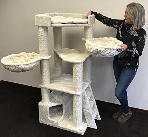Arbre à chat géant grand chat XXL Corner Coon Beige 48KG pour gros chats Produit de qualité RHRQuality