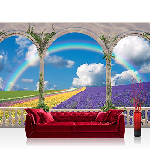 Fototapete 254x184 cm PREMIUM Wand Foto Tapete Wand Bild Papiertapete - Pflanzen Tapete Bogen Landschaft Regenbogen Blume Himmel Feld Lavendel bunt - no. 1193