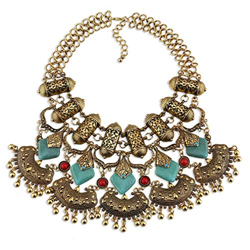 YAZILIND Mujer Turquesa Collar Oro Recubierto Gota Cerradura Colgante clavícula joyería Retro étnico Grueso Accesorios