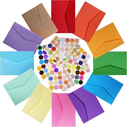 INTVN Mini Umschläge 120 Stücke Mehrfarbig Niedlich Kleine Umschläge mit 160 Stücke Runder Aufkleber für Hochzeit Geburtstag Party Geschenk