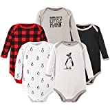 Hudson Baby Baby Cotton Long-Sleeve Bodysuits, Penguin, 0-3 Months