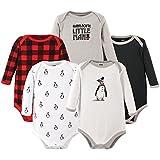 Hudson Baby Unisex Baby Cotton Long-sleeve Bodysuits, Penguin, 0-3 Months US