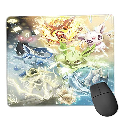 Eevee Mouse Pads Pikachu Manga Theme Gaming Mousepad Rectangle Unti-Slip Stitched Edges Anime Mouse Pad for Laptop (9.8x12x0.12inch) (06)