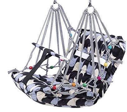 UPLINE Cotton Swing for Kids Baby's Children Folding and Washable 1-3 Years with Safety Belt Home Garden Jhula for Babies for Indoor Outdoor(Multicolor)