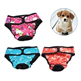 UEETEK 3 PCS Pet Dog Chiot Couches Sanitaires Physiologiques Pantalons Femme Chien Shorts Culottes Menstruation Sous-vêtements Taille XS