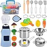 AMOYEE Giocattoli da Cucina per Bambini, 30 Pezzi Cucina Pentole Giocattolo per Bambini Taglio Cibo Verdura Acciaio Inossidabile Accessori Cucina, Grembiule e Cappello per Bambini dai 3 Anni in su