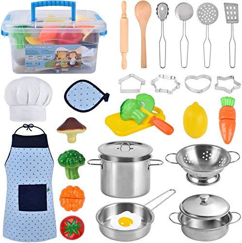 AMOYEE Küchenspielzeug Zubehör, Kinderküchenspielzeug, Edelstahl Pfannenset Schürze und Kochmütze für Gemüse Pretend Spielzeug Rollenspiele Mädchen und Jungen