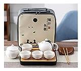 GYAM Servizio da tè da Viaggio,Servizio da tè Kung Fu in Ceramica Portatile, Teiera, 4 Tazze da tè, Home Office, Bianca