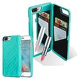 Cadorabo Apple iPhone 8 Plus / 7 Plus / 7S Plus Funda Hybrid Espejo en Turquesa Cubierta Protectora de Plástico e Silicone TPU con Antichoque y Espejo Case Cover Carcasa Protección Outdoor Heavy Duty