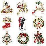 WILLBOND 9 Pieces Christmas Brooch Pin Rhinestone Crystal Christmas Brooch for Christmas Decoration