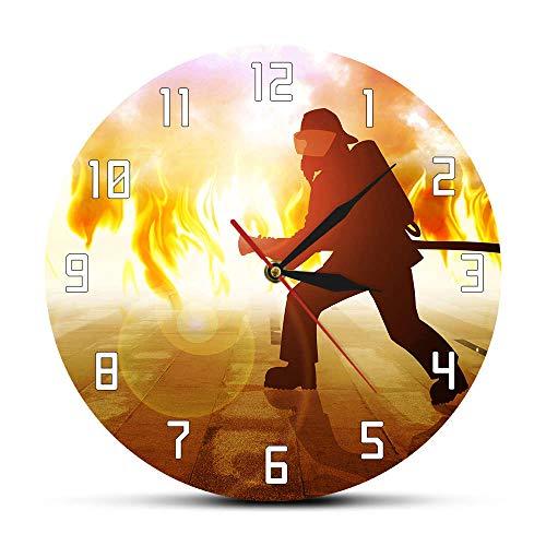 Rgzqrq Bombero extintor de Incendios Llama Bombero en Fuego Hombre Texto Moderno Reloj de Pared Departamento de decoración de Oficina de Incendios 12 Pulgadas