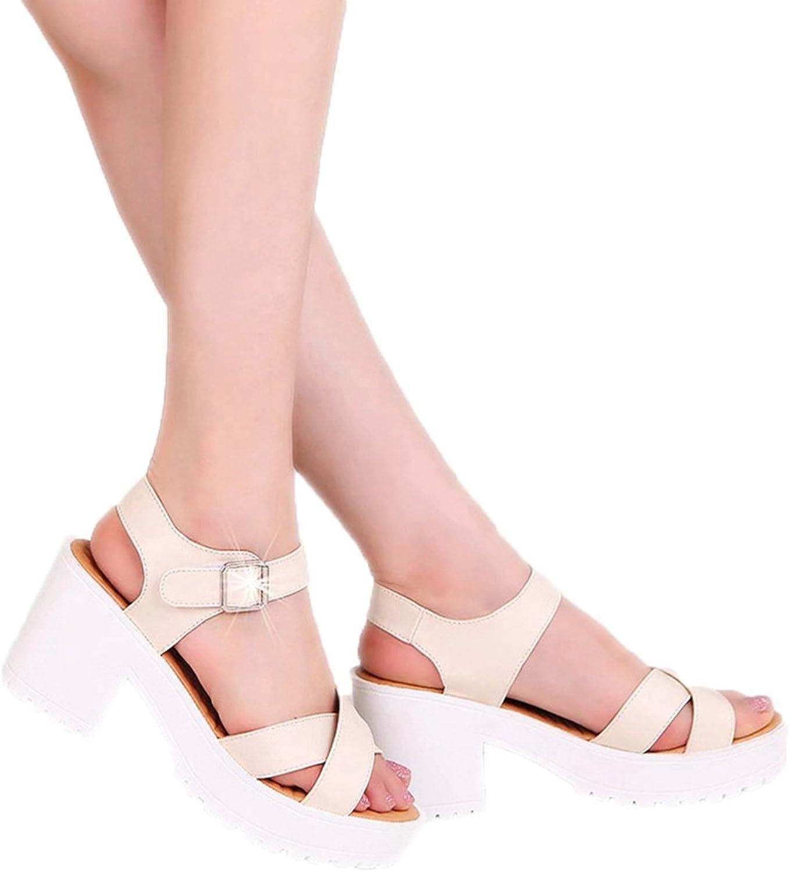 T-JULY Womens Ladies Fashion Wedge Platform Peep Toe High Heel Ankle Strap Slides Slip on Comfy Dress Walking Sandals