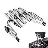 PBYMT Chrome Detachable Stealth Mounting Luggage Rack Compatible for Harley Davidson Touring Road King Street Electra Glide 2009-2020