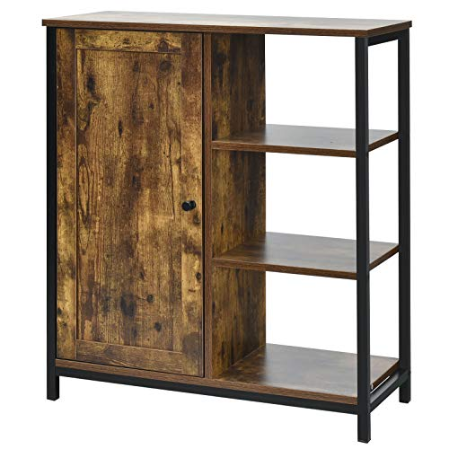 Giantex Storage Cabinet, Industrial Pantry Cupboard with 3 Open Shelves, Kitchen Sideboard, Standing Baker's Rack, Wood Cabinet Organizer for Bathroom, Living Room, Dining Room, Rustic Brown