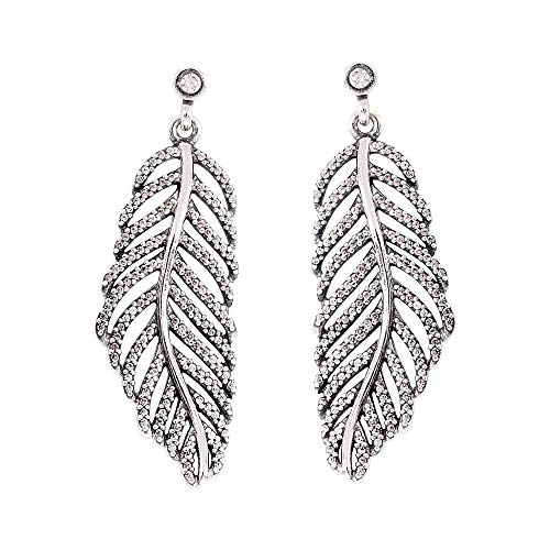 Pandora Majestic Feathers Stud Earrings - Sterling Silver with Shimmering Cubic Zirconia Stones Clear 290581CZ