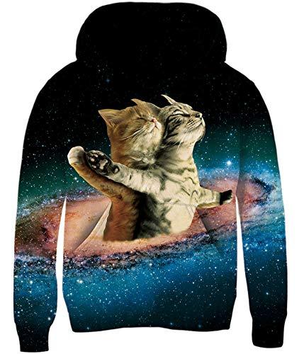 Loveternal Hoodie Jungen Katze Bunte 3D Druck Kapuzenpullover Galaxy Cat 8-10 Jahre Kapuzenpullover Langarm Kids Sweatshirts für Jungen und Mädchen XL