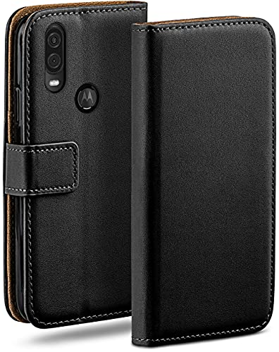 moex Klapphülle kompatibel mit Motorola One Vision Hülle klappbar, Handyhülle mit Kartenfach, 360 Grad Flip Hülle, Vegan Leder Handytasche, Schwarz