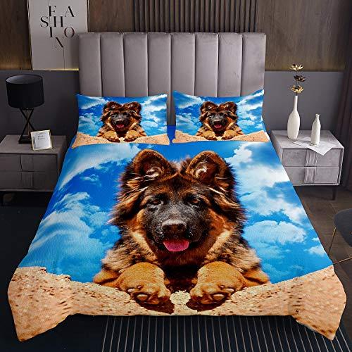 Lindo juego de colcha para perros con patrón de mascotas, colcha para niños y niñas, diseño hippie cachorro, colcha acolchada 3D, temática de animales, decoración de habitación doble, 3 piezas