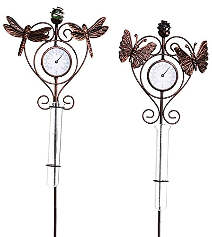 Evergreen Garden Scrolled Thermometer and Rain Gauge Metal Stakes, Set of 2