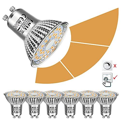 EACLL Bombillas LED GU10 6W 2700K Fuente de Luz Regulable Blanco Cálido 570 Lúmenes Lámparas Reflectoras. Atenuación de 3 Niveles Solo Con un Interruptor Normal. AC 230V Sin Parpadeo Focos, 6 Pack