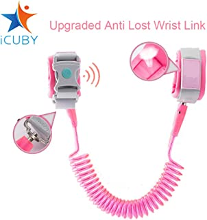 Upgraded Anti Lost Wrist Link, Kid Leash Harness with Induction Lock, Safety Wrist Leash for Toddlers, Babies & Kids, Wrist Traction Rope for Shopping & Travel(Pink)