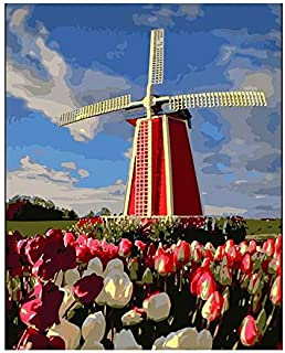 DIY Painting by Numbers Flower Windmill Handpainted Oil Painting Landscape Acrylic Painting Home Decoration Fun at Homdiy...