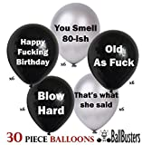 30 pc Funny Adult Birthday Balloons | Gag Gift for a Man Birthday~ Designed by BallBusters, a USA Company (30 Black & Silver Balloons)