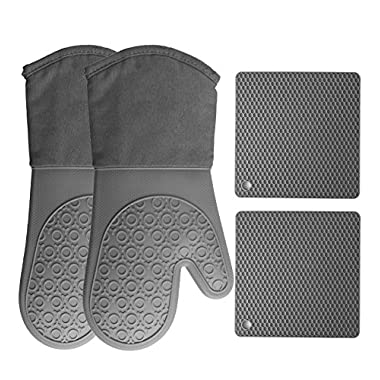 Homwe Silicone Oven Mitts and Pot holders (4-Piece Set) Heavy Duty Cooking Gloves, Kitchen Counter Safe Trivet Mats | Advanced Heat Resistance, Non-Slip Textured Grip(Gray)