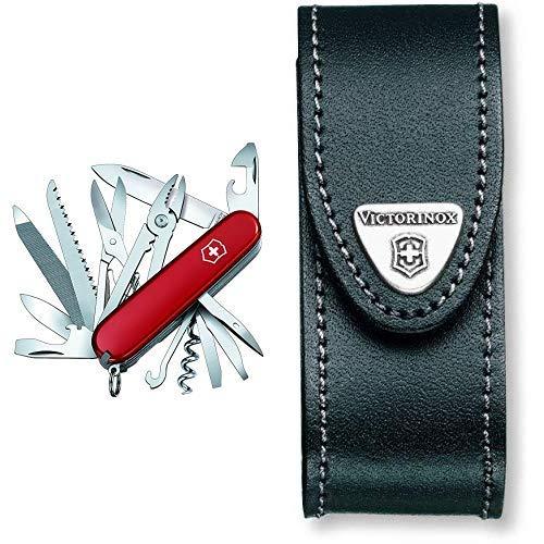 Victorinox Taschenmesser Handyman (24 Funktionen, Kombizange, Holzmeissel, Metallsäge) rot & Victorinox Leder-Etui (für Taschenmesser, Gürtelschlaufe, Klettverschluss, schwarz, 3cm x 10cm) schwarz