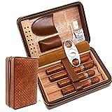 Estuche portátil de cuero para viaje con textura de tejido marrón de 4 dedos, cortador de puros, humidificador de puros con humidificador, regalo para padrinos de boda, regalo de cumpleaños