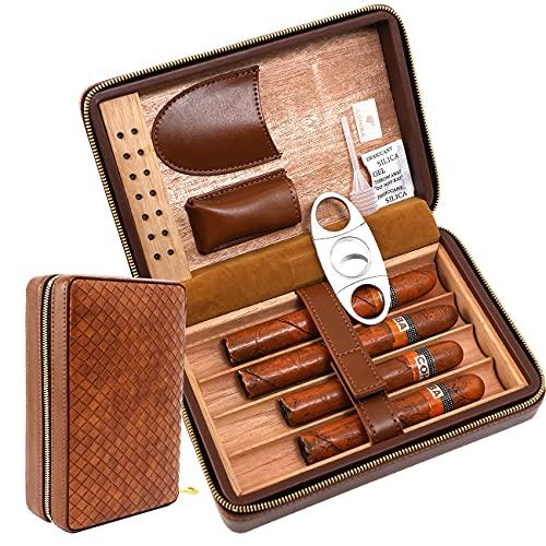 Time C Club Custodia per sigari in pelle da viaggio con trama intrecciata marrone a 4 dita, tagliasigari, humidor per sigari con e umidificatore, regalo dello sposo, regalo di compleanno