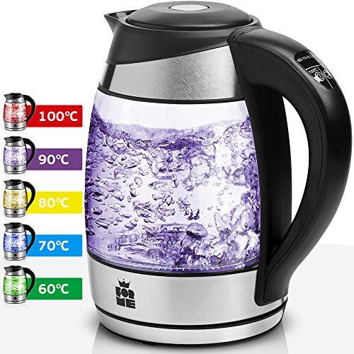 ForMe Glas Wasserkocher 1.8 L Temperaturwahl 60-100°C Farbwechsel LED Temperatur einstellbar Glaskessel I Glaswasserkocher Edelstahl Boden I Teekessel mit Warmhaltefunktion BPA Frei