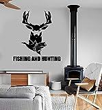 zqyjhkou Diseño Vinilo Tatuajes de Pared Citas Pesca Caza Pescado Aficiones Pegatinas Mural Hogar Salón Decoración de Pared Arte Pared L92x99cm