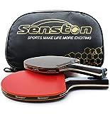Senston 2 Racchette Ping Pong in Gomma a Doppia Faccia, 2 Racchetta da Ping Pong Professionale con Custodia,