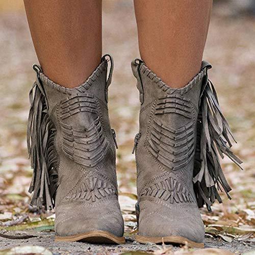 MTHDD Damen Fransen Stiefel Klassischer Stiefel Mit Blockabsatz Vintage Spitz Stiefel Booties,Grau,43